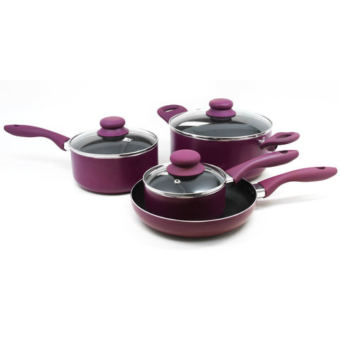 Home Gibson Colorsplash Branston 7 pc Cookware Set- Purple