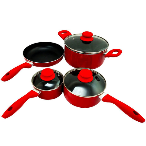 Home Gibson Colorsplash Branston 7 pc Cookware Set- Red