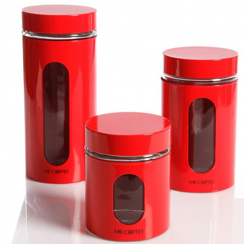 Home Java Bar Set of 3 Glass Canister Set- Red