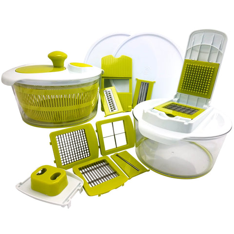 Home MegaChef 10-in-1 Multi-Use Salad Spinning Slicer, Dicer and Chopper with Interchangeable Blades and Storage Lids