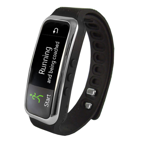 "Home Supersonic 0.91"" Fitness Wristband With Bluetooth Pedometer, Calorie Counter and More-Black"