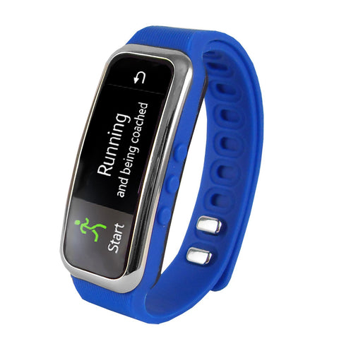 "Home Supersonic 0.91"" Fitness Wristband With Bluetooth Pedometer, Calorie Counter and More-Blue"