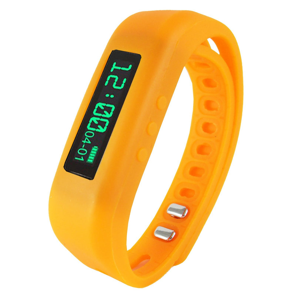 "Home Supersonic 0.91"" Fitness Wristband With Bluetooth Pedometer, Calorie Counter and More-Orange"