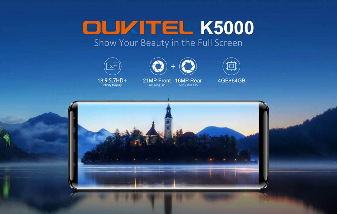 OUKITEL K5000 5.7 Inch MT6750T 18:9 Aspect Ratio 4 + 64GB Black Smart Phone