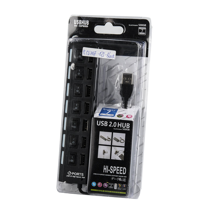 High Speed USB 2.0 Hub - 7 Ports With On/Off Switch, 5V, 480Mbps, Windows Compatible (Black)