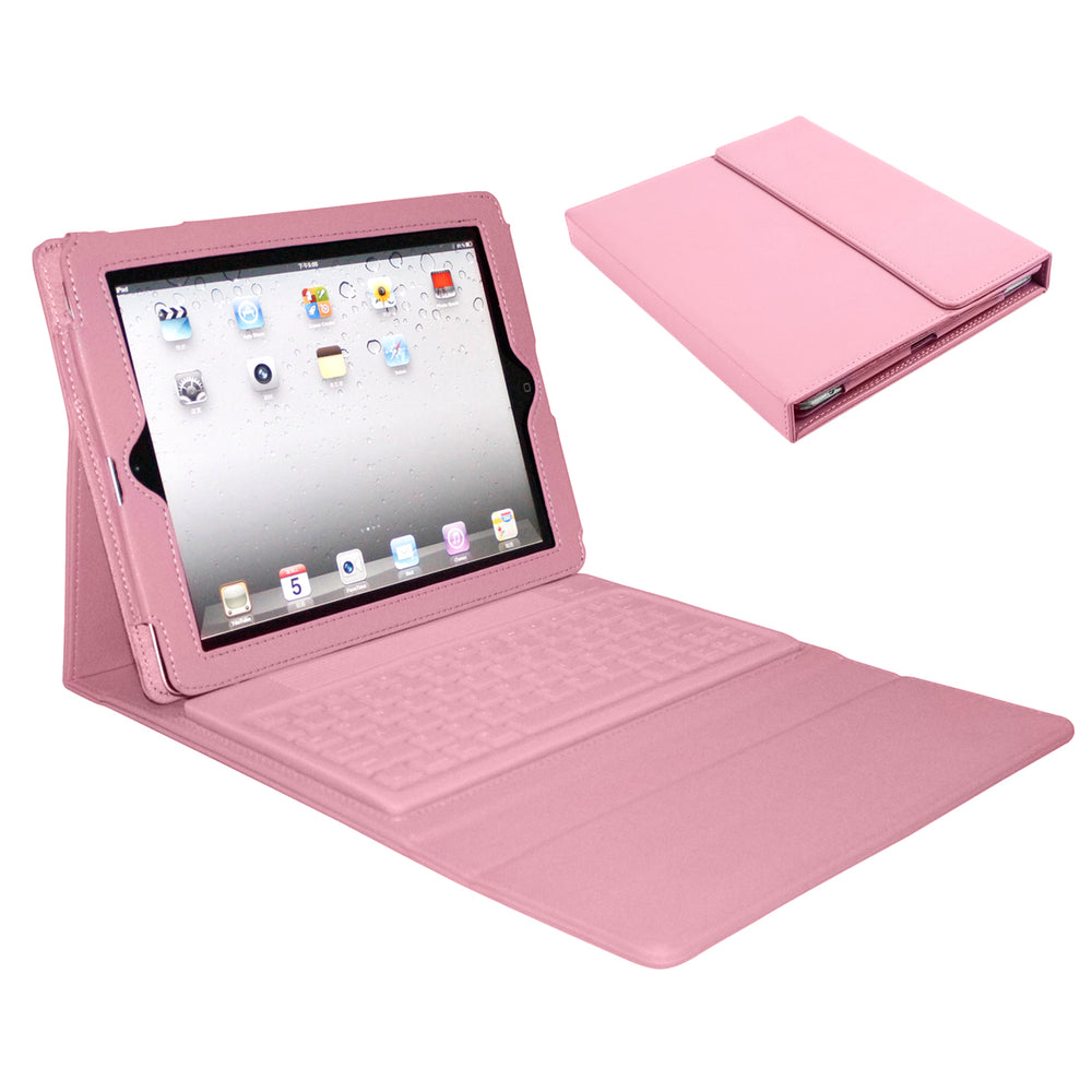 Bluetooth Wireless Keyboard Folio for Apple iPad- Pink