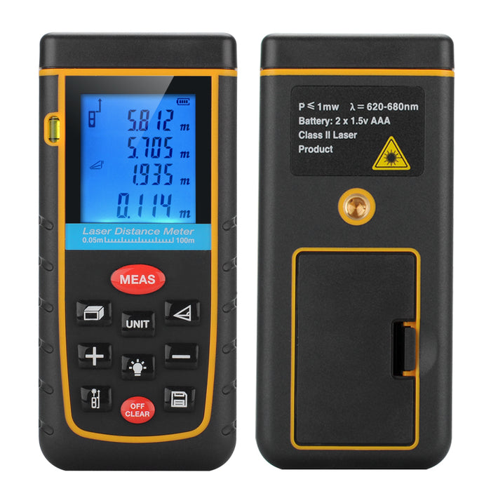 Digital Laser Tape Measure - 0.05 To 100 Meter Range, Spirit Level, IP54, 1/4 Inch Tripod Thread, Carry Case