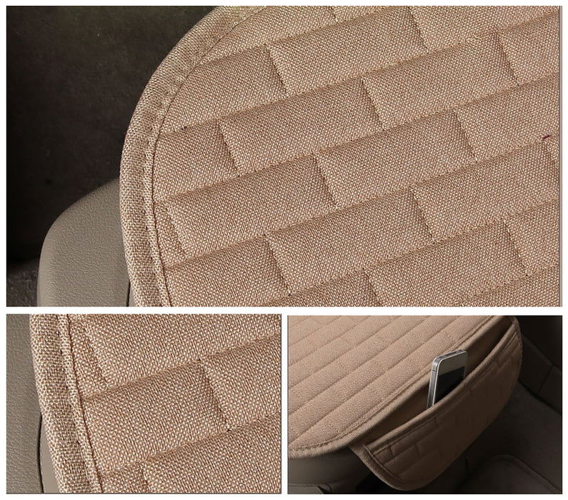 Breathable Flax Car Front Seat Cushion Car Interior Seat Cover Cushion Pad for Auto Supplies Beige