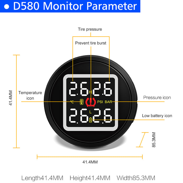 D580C Car Cigarette Lighter TPMS Digital Tire Pressure Gauge + 4 External Sensors