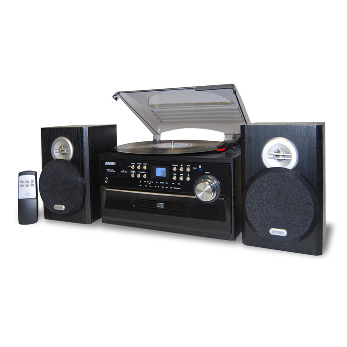 Jensen 3-Speed Stereo Turntable with CD System, Cassette and AM/FM Stereo Radio
