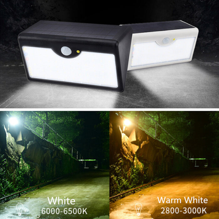 60 LEDs Waterproof Solar-Powered Remote Control LED Garden Lamp Wall Light Black Shell White Light