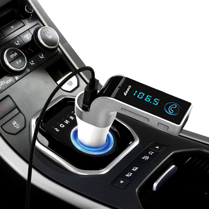 Bluetooth Car FM Transmitter - 87.5-108 MHz, SD card Slot, Noise Reduction, MP3 + WMA Support, BT 2.1 A2DP (Silver)