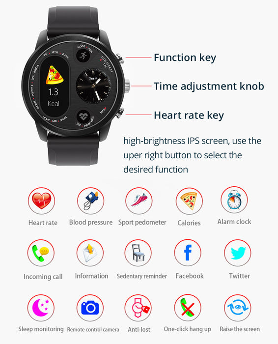 Sport Smart Watch Stainless Steel Fitness Activity Tracker IP68 Waterproof Smartwatch Black