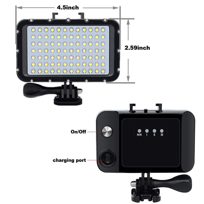 84 LED High Power Dimmable Waterproof LED Video Light Waterproof 164ft(50m) Underwater Lights Dive Light for Gopro Canon Nikon