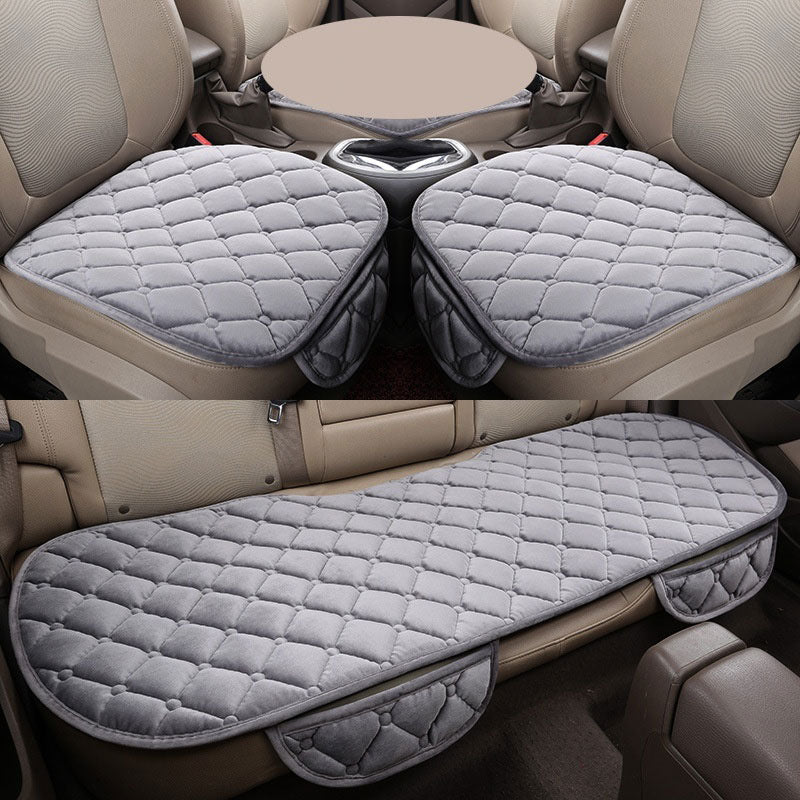 Gray 3 Pcs Soft Comfortable Car Cushion Non-slip Breathable 2 Pcs Front Cushion + 1 Pcs Rear Cushion