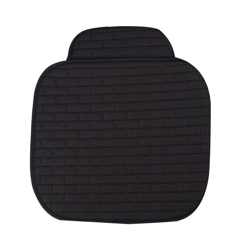 Breathable Flax Car Front Seat Cushion Car Interior Seat Cover Cushion Pad for Auto Supplies (Black)