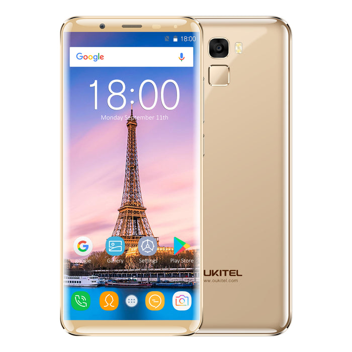 OUKITEL K5000 5.7 Inch MT6750T 18:9 Display Aspect Ratio 4 + 64GB Gold Smart Phone