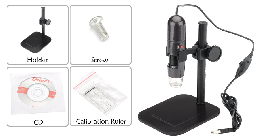 Digital USB Microscope - 1000 Zoom, 8 LED, Video + Photos, 1280x1024 Resolutions