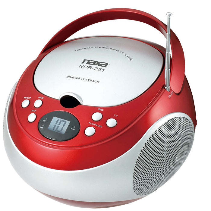 Naxa Portable CD Player with AM/FM Stereo Radio- Red