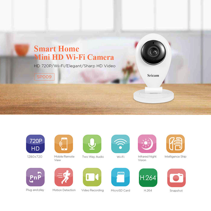 Sricam SP009 Wireless Wifi IP Camera HD 720P P2P CCTV Baby Monitor VCR (European regulations)