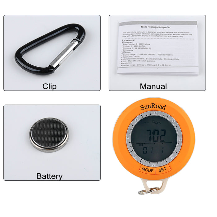 Sunroad SR108S Hiking Computer - 6 In 1 Digital Pedometer, Compass, Altimeter, Barometer, Thermometer, Weather Forecast