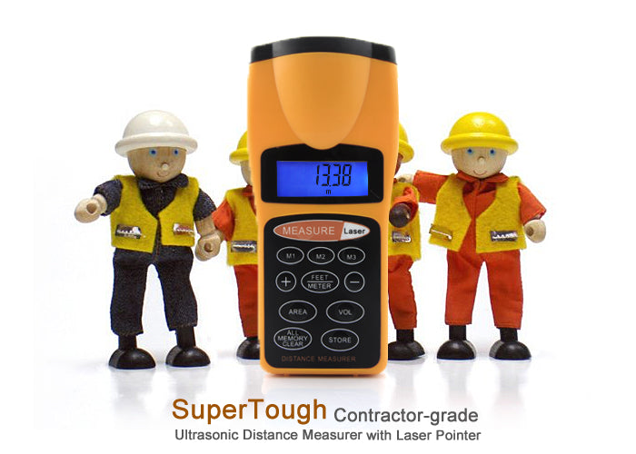 "Ultrasonic Laser Distance Measurer ""SuperTough"" - Up To 18 Meters"