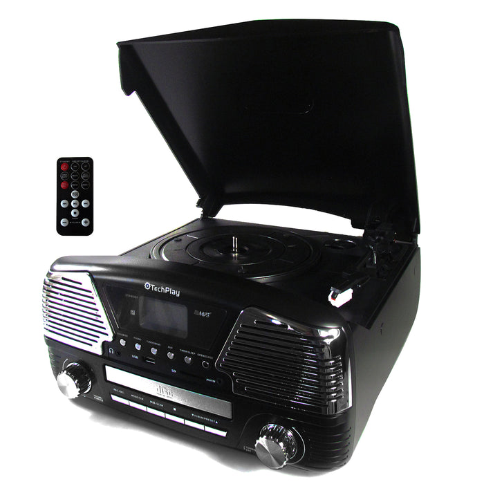 TechPlay 3 Speed Bluetooth Turntable in Black
