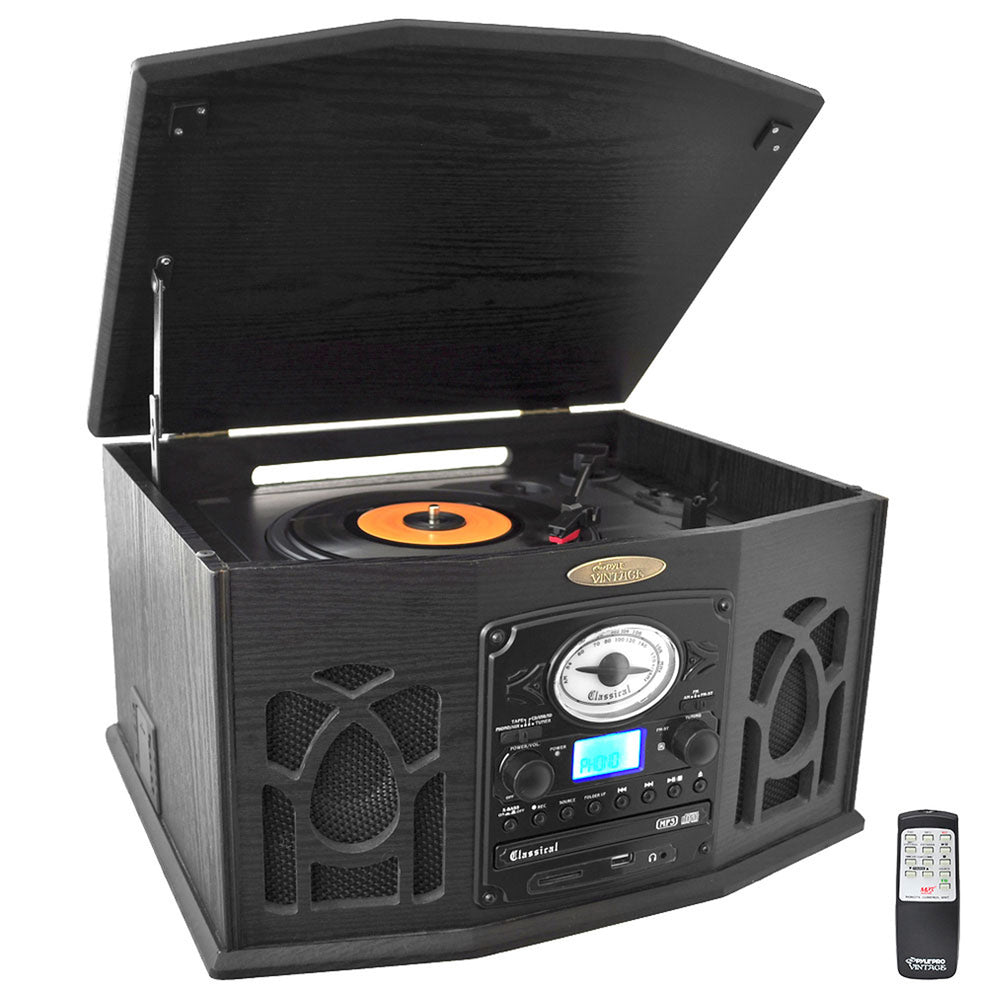 Pyle Retro Vintage Turntable with iPod Player CD/MP3and More-Black