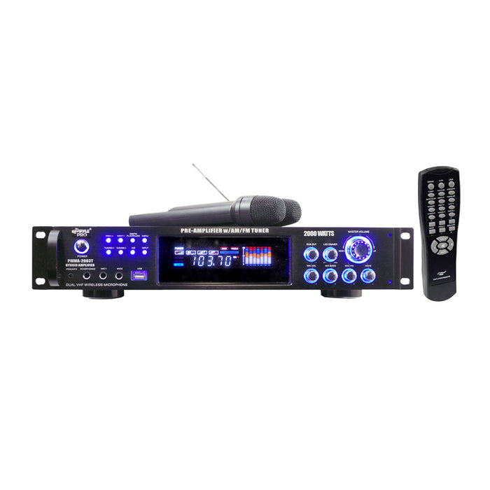 Pyle 2000 Watts Hybrid Pre-Amplifier with AM-FM Tuner/USB/Dual Wireless Mic