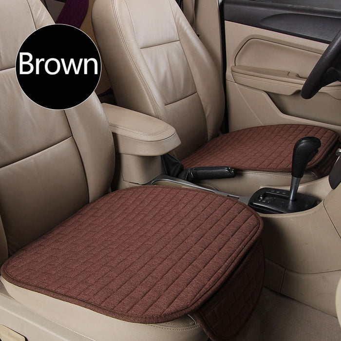 Breathable Flax Car Front Seat Cushion Car Interior Seat Cover Cushion Pad for Auto Supplies Brown