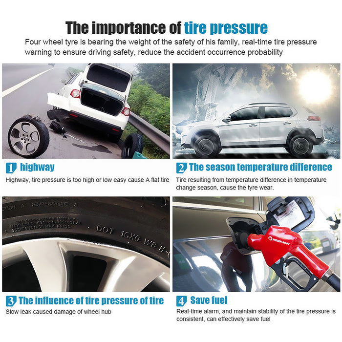 Tire Pressure Monitoring System - 4 Sensors, Real-Time Data, Tire Pressure, Tire Temperature, Tire Leaking Warning Alarm