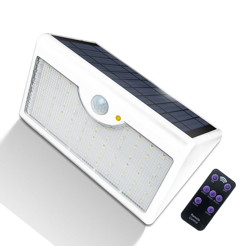 60 LEDs Waterproof Solar-Powered Remote Control LED Garden Lamp Wall Light White Shell Warm Light