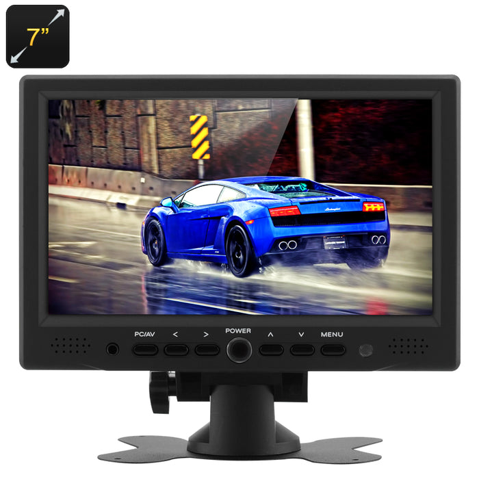 7 Inch TFT LCD Car Monitor - 800x480 Native Resolution, HDMI + VGA Video Inputs, 360 Degree Rotating Stand