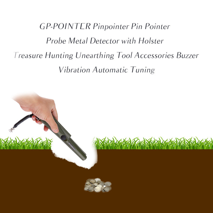 GP-Pointer Metal Detector - IP66 Waterproof, LED Light, 360 Degree Detection Area, Audio And Vibrating Alarm, Compact (Green)
