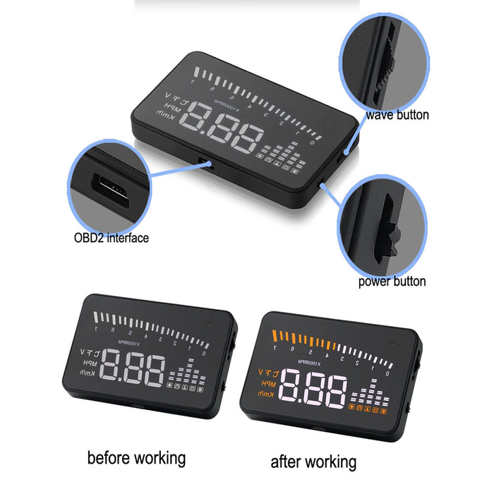 "3"" Car HUD Projector Head Up Display Speed Warning Fuel OBD II Speedometer"