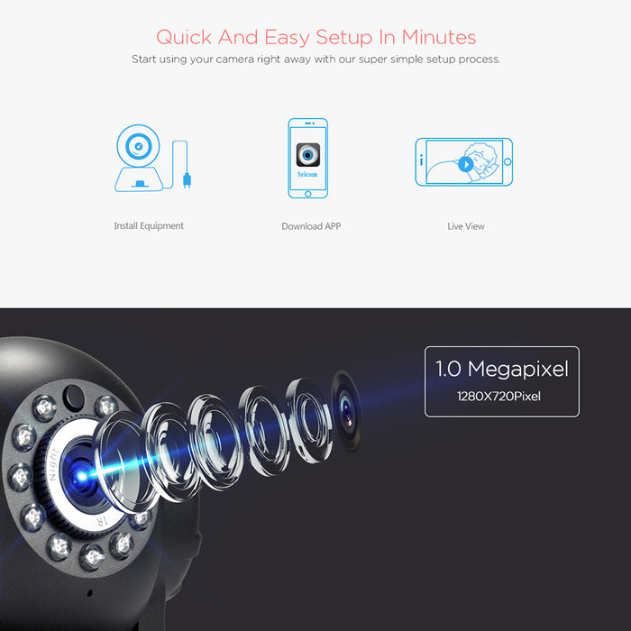 White Sricam SP012 Wifi IP Camera Wireless HD P2P CCTV Baby Monitor Camera with IR-cut Two Way Video