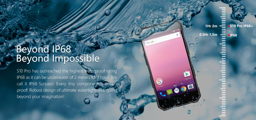 Nomu S10 Pro IP68 Waterproof Dust-Proof Mobile Phone 5000mAh MTK6737T Quad-Core Android 7.0 5.0-Inch HD Screen 8MP Camera 3GB RA