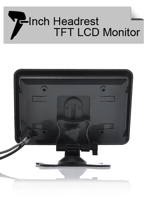 Headrest/Stand In-Car TFT LCD Monitor- 7 Inch, Black