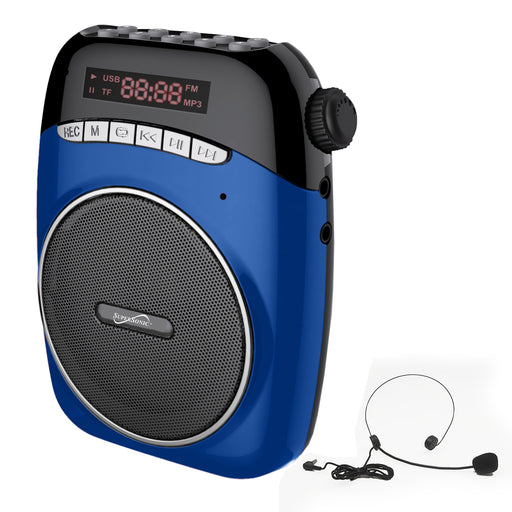 Supersonic Portable PA System with USB and Micro SD Card Slot-Blue