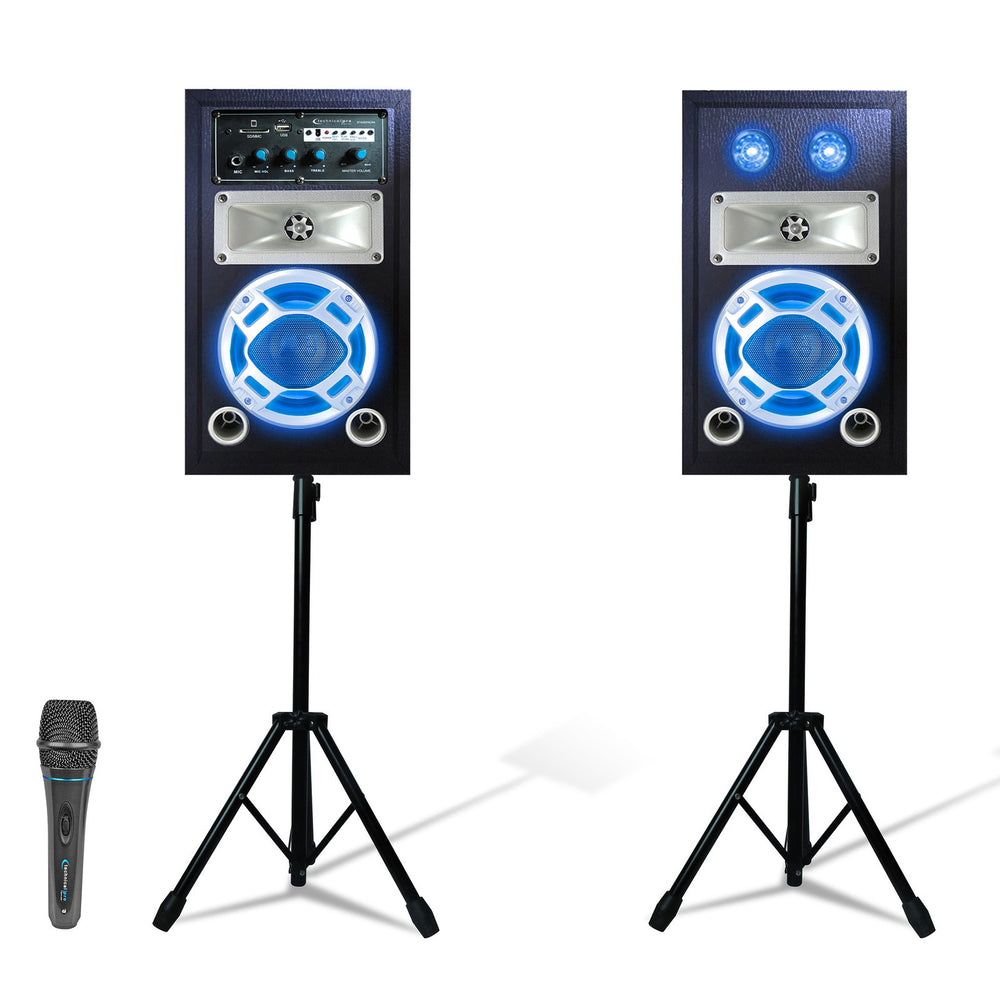 Technical Pro Bluetooth Stage Speaker System Package with 2 Tripods and Microphones