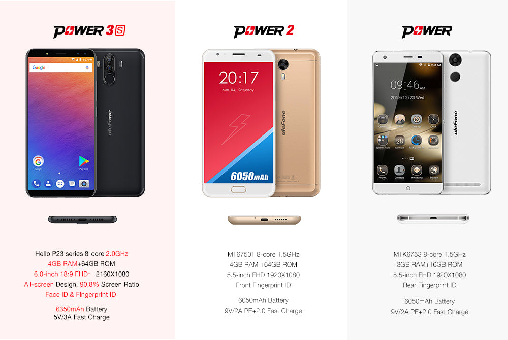 ULEFONE Power 3S 6 Inch 18:9 FHD + Android 7.1 MTK6763 Octa Core 4 GB + 64 GB 6350 mAh Smartphone (Gold)