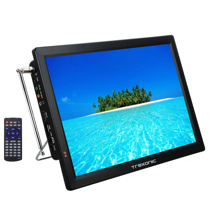 "Trexonic Portable Rechargeable 14"" LED TV With HDMI, SD/MMC, USB, VGA, AV In/Out And Built-in Digital Tuner"