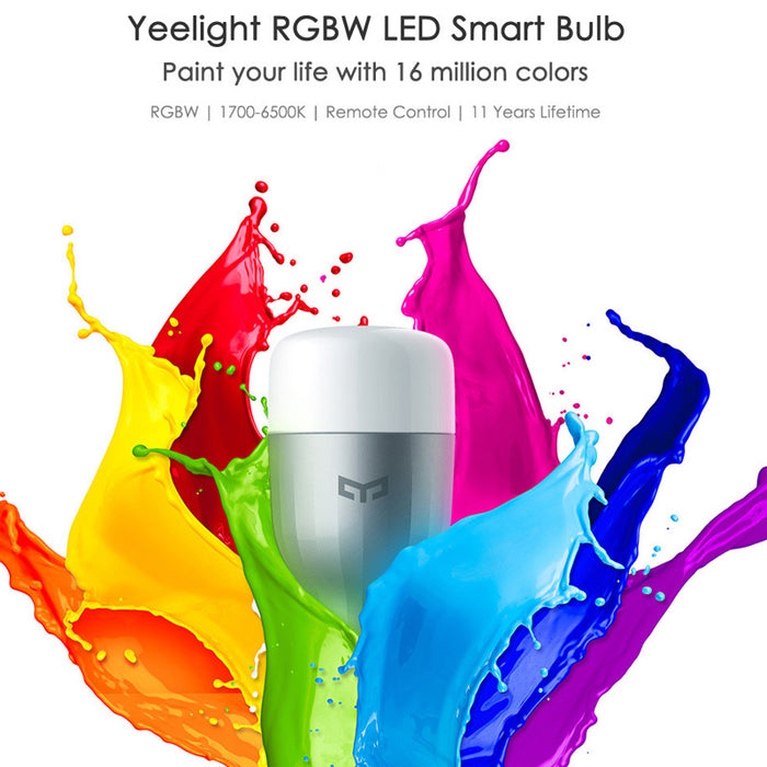 Xiaomi Yeelight RGBW E27 Smart LED Bulb - 16 Million Colors, 1700-6500K White Light, Wi-Fi Control, 600 Lumens, E27 Holder