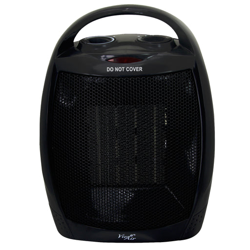 Vie Air 1500W Portable 2-Settings Black Ceramic Heater with Adjustable Thermostat