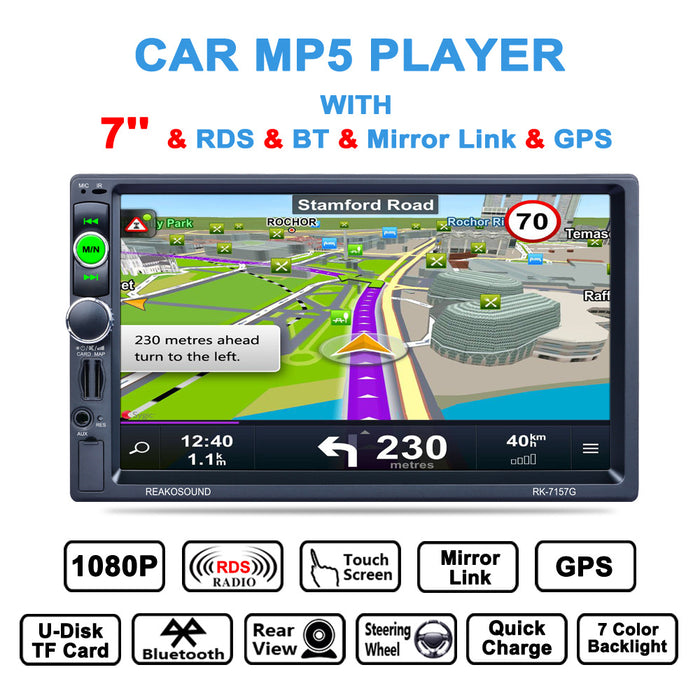 RK-7157G 7 inch Car MP5 FM/AM/RDS Radio Tuner Bluetooth Media Player GPS Navigation Rear View Camera Function