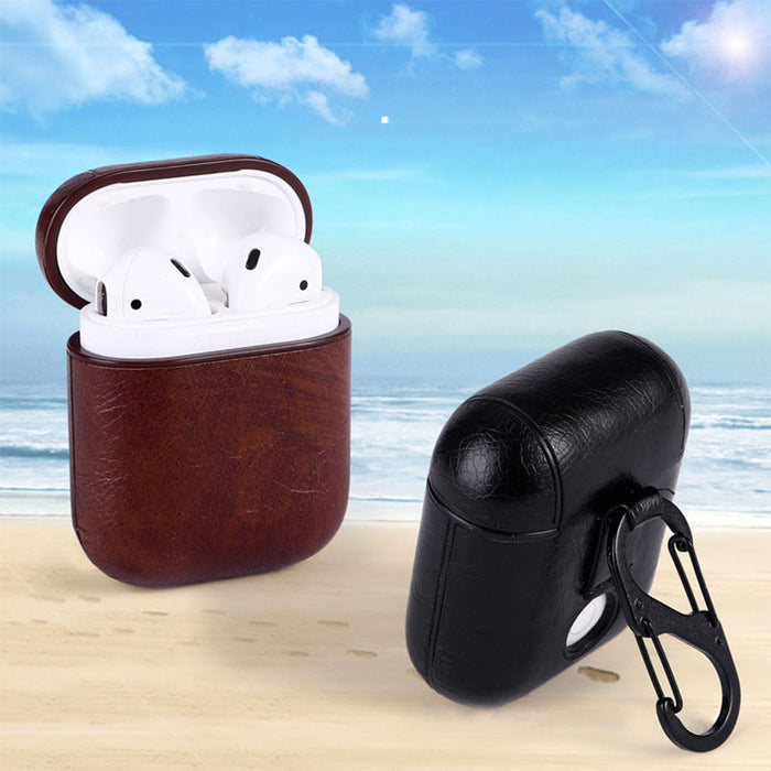 Brown Genuine Leather Anti-drop Shockproof Protective Case for Apple AirPod Earphone