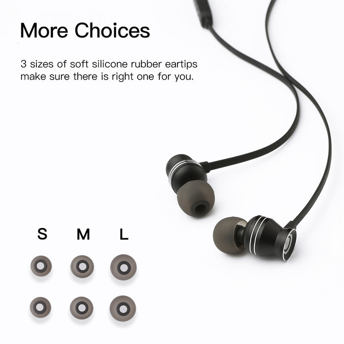 GGMM Portable Metal Stereo Headset In-Ear Noise Cancellation Black Earphone Earbud