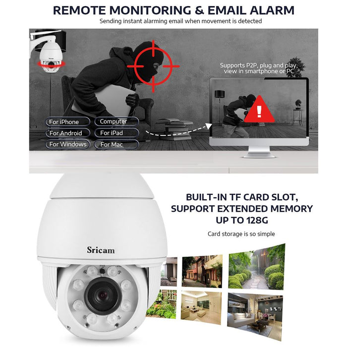 UK Plug Sricam SP008B 720P Wireless WiFi IP Camera IR Night Vision Motion Detection Outdoor CCTV Camera
