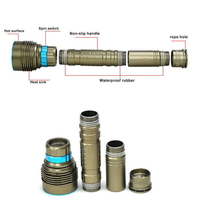 18000LM 7 XML-T6 LED Strong Light Diving Flashlight Torch Professional Underwater Waterproof Light Tactical Lantern Army Green
