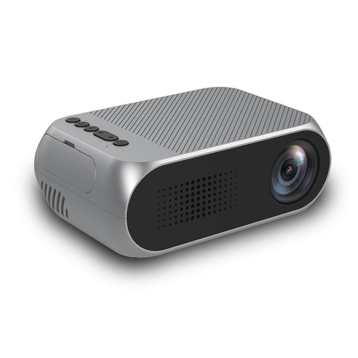 EU Plug Mini Projector Home Theater Cinema TV Portable LED Projector 1080P HDMI/USB/SD/AV Projector Silver Gray